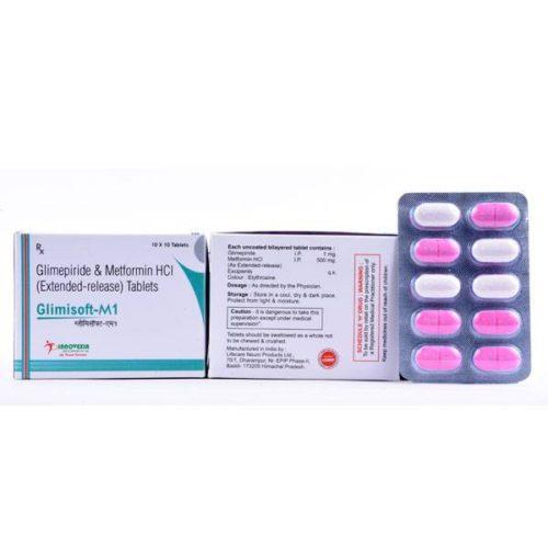 Glimepiride 1/2mg +Metformin 500/500mg SR